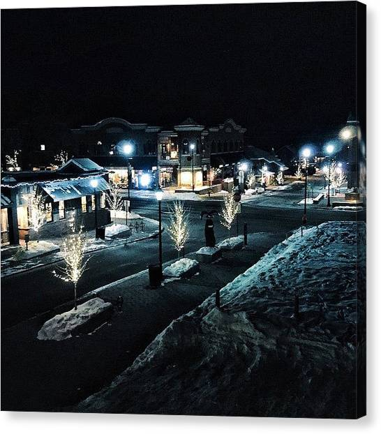 Iphone Canvas Print - #january #ketchum #vibes #nighttime by Cody Haskell