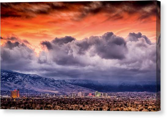 January Sunset Over Reno Canvas Print