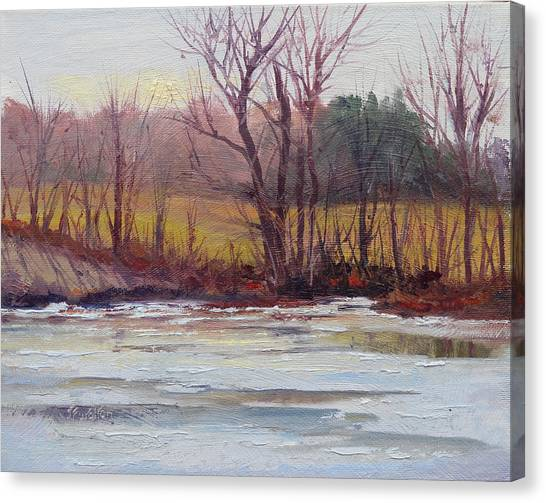 January Thaw Canvas Print by Judy Fischer Walton