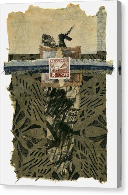 Torn Paper Collage Canvas Print - Japan 1943 Collage by Carol Leigh