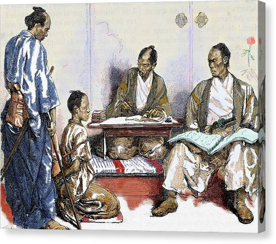 Accused Canvas Print - Japan 19th Century Judge Drawing by Prisma Archivo
