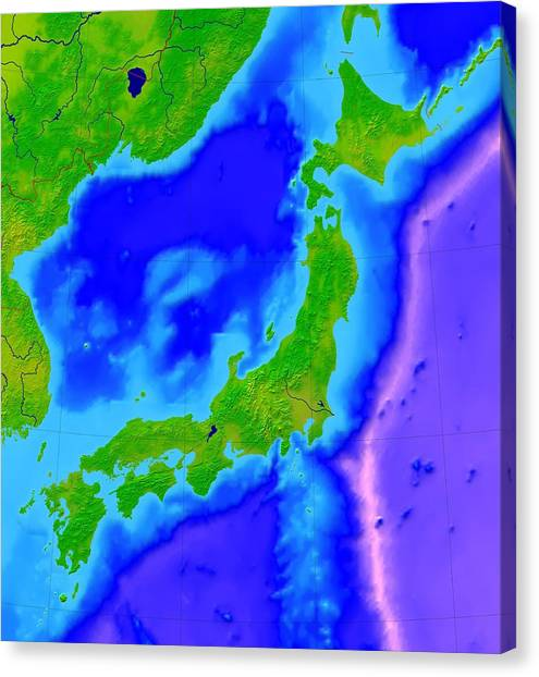 Japan Bathymetric Map Photograph By Science Photo Library - Water depth map