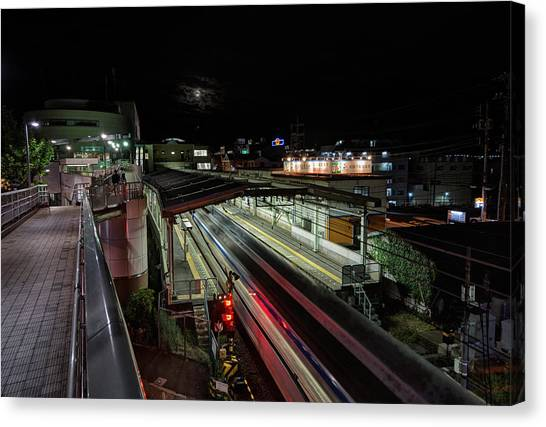 Japan Train Night Canvas Print