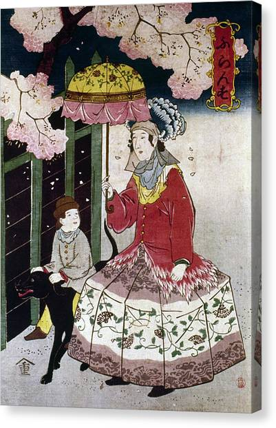 Japanese Umbrella Canvas Print - Japan Western Dress by Granger