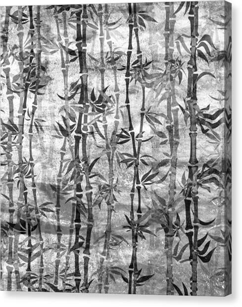 Japanese Bamboo Grunge Black And White Canvas Print