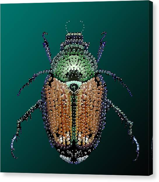 Japanese Beetle Bedazzled II Canvas Print