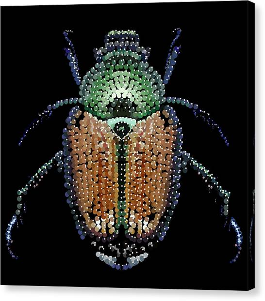 Japanese Beetle Bedazzled Canvas Print