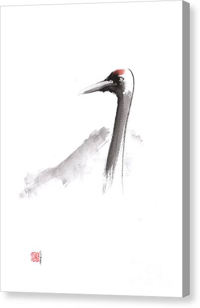 Mount Fuji Canvas Print - Japanese Crane And Mount Fuji Original Artwork by Mariusz Szmerdt