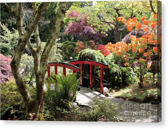 Japanese Garden Bridge With Rhododendrons Canvas Print