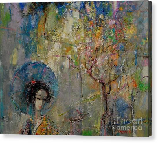 Japanese Umbrella Canvas Print - Japanese Garden by Grigor Malinov