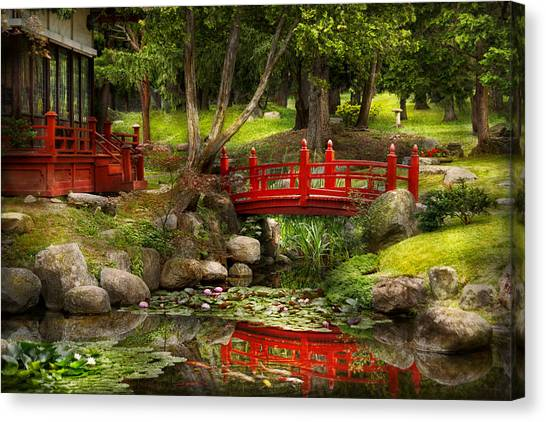 Japanese Gardens Canvas Print - Japanese Garden - Meditation by Mike Savad