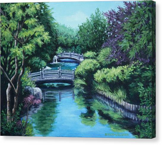 Japanese Garden Two Bridges Canvas Print