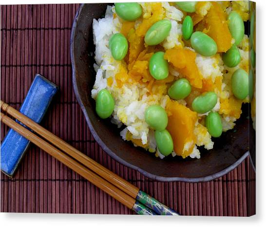 Japanese Kabocha Squash Rice With Edamame Canvas Print by James Temple