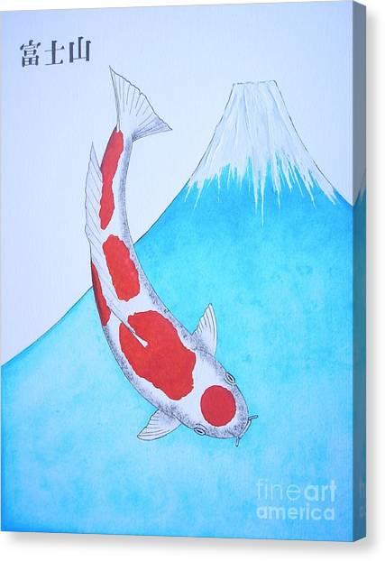 Street Fighter Canvas Print - Japanese Koi Kohaku Mt Fuji Painting by Gordon Lavender