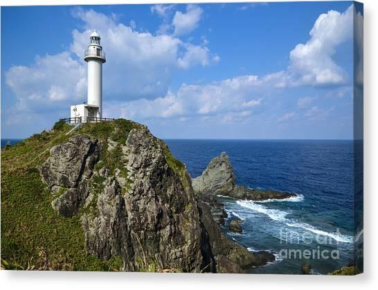 Japanese Lighthouse At Uganzaki Canvas Print