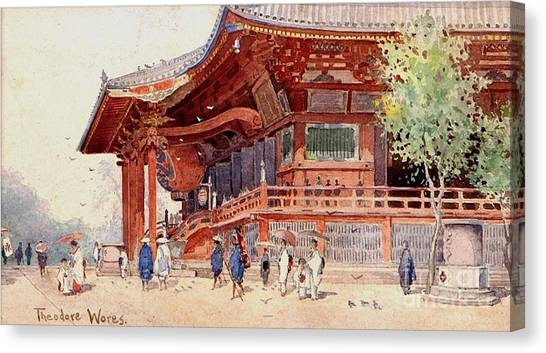 Japanese Pavilion And Courtyard Canvas Print by Roberto Prusso