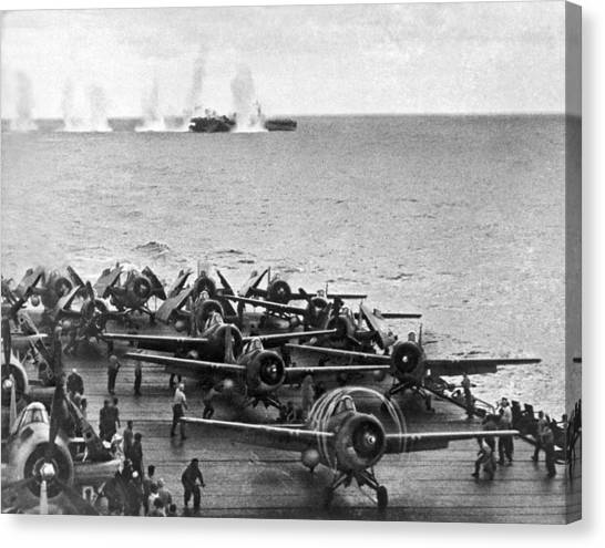 South Asia Canvas Print - Japanese Salvos Drop Next To The Uss White Plains As The Uss Kit by Underwood Archives