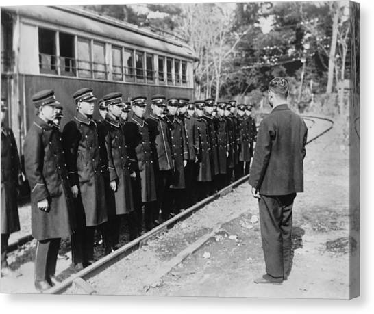 Train Conductor Canvas Print - Japanese Street Car Conductors by Underwood Archives