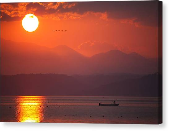 Canvas Print featuring the photograph Japanese Sunset by Brad Brizek