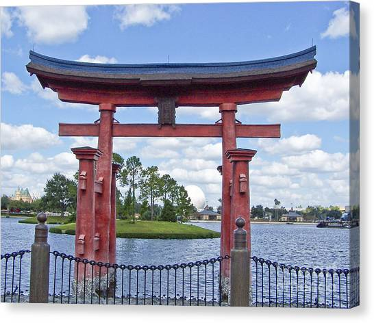 Japanese Torri Gate At Epcot Canvas Print