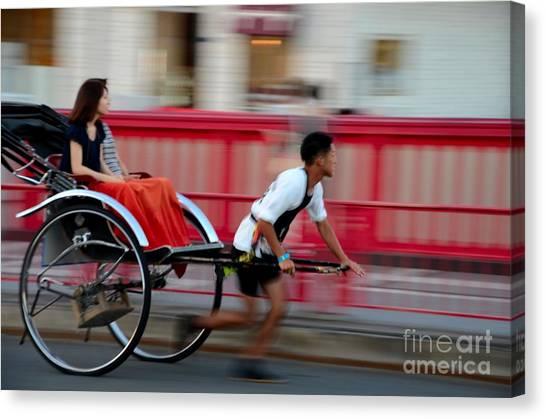 Japanese Tourists Ride Rickshaw In Tokyo Japan Canvas Print