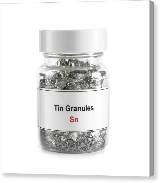 Toxicity Canvas Print - Jar Containing Tin Granules by Science Photo Library