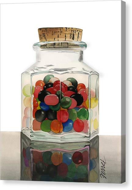 Jar Of Jelly Bellies Canvas Print