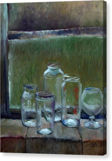 Jars On Summer Windowsil Canvas Print