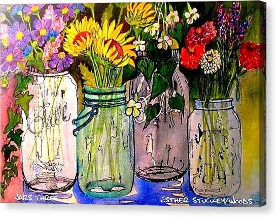 Jars Three Canvas Print by Esther Woods