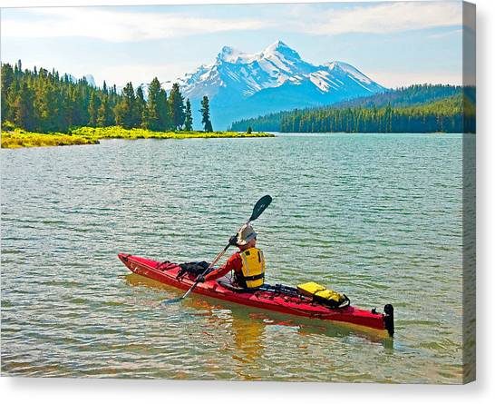 Jasper Park Kayaker Canvas Print by Dennis Cox