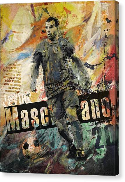 Fifa Canvas Print - Javier Mascherano - B by Corporate Art Task Force