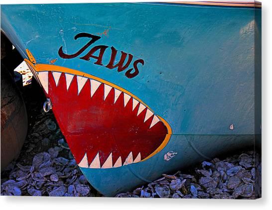 Shark Teeth Canvas Print - Jaws Boat Bow by Garry Gay