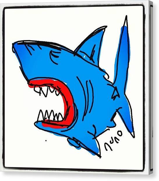 Jaws Canvas Print - #jaws #cartoon #caricatures #sketch by Nuno Marques