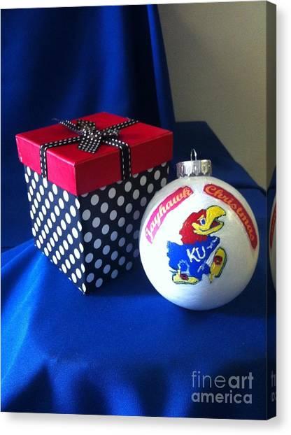 University Of Kansas Canvas Print - Jayhawk Christmas by MEA Fine Art