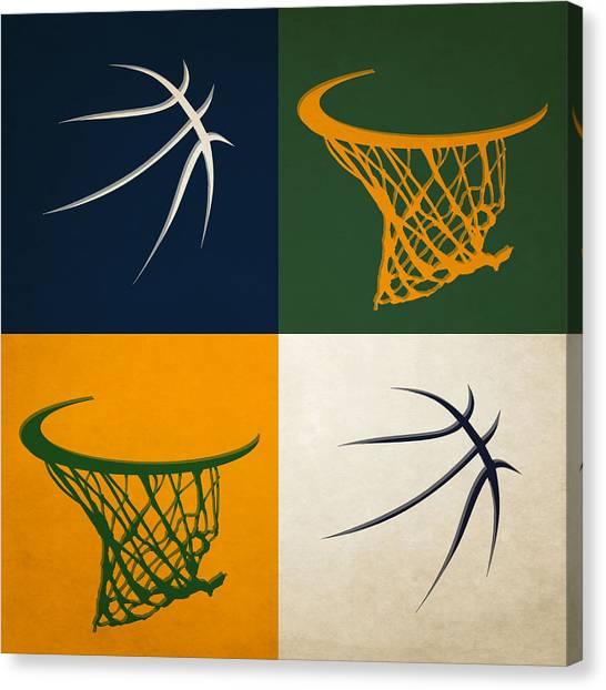 Utah Jazz Canvas Print - Jazz Ball And Hoops by Joe Hamilton