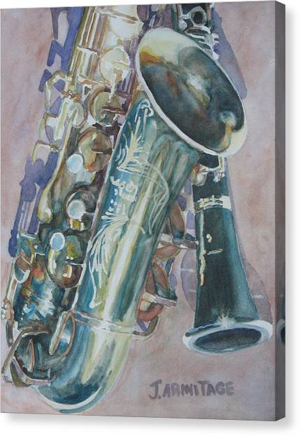 Clarinets Canvas Print - Jazz Buddies by Jenny Armitage