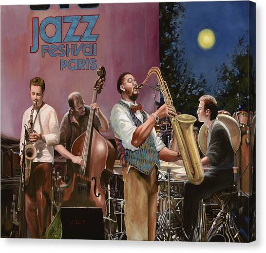 Full Moon Canvas Print - jazz festival in Paris by Guido Borelli