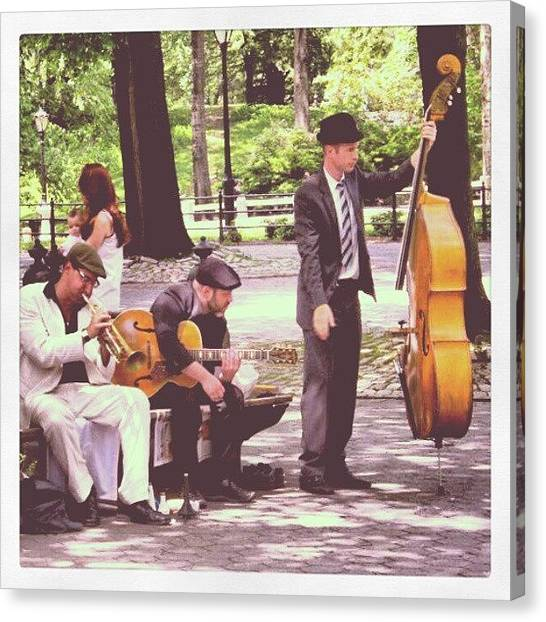 Jazz Canvas Print - Jazz In Central Park by Lottie H