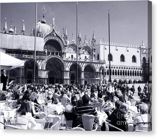 Jazz In Piazza San Marco Black And White  Canvas Print