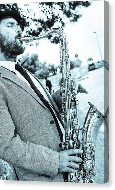 Jazz Musician Busker Playing Saxophone Canvas Print