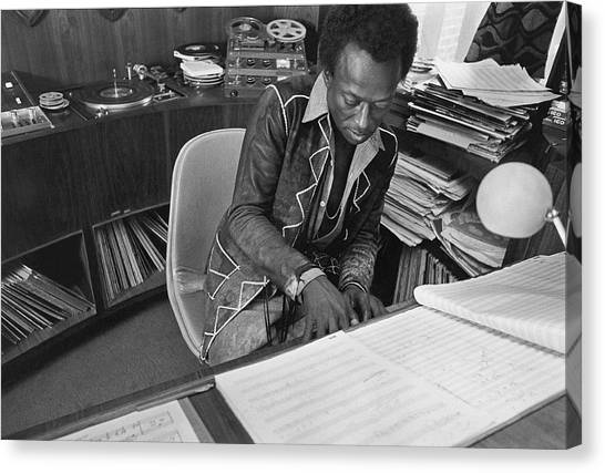 Jazz Musician Miles Davis Composing Canvas Print by Mark Patiky