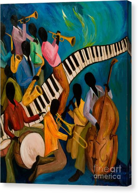 Electronic Instruments Canvas Print - Jazz On Fire by Larry Martin