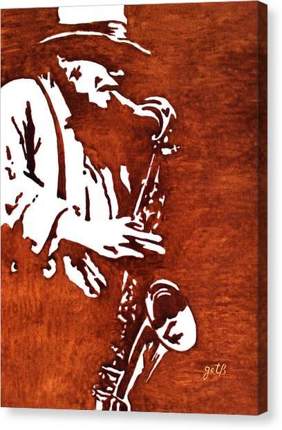 Jazz Saxofon Player Coffee Painting Canvas Print