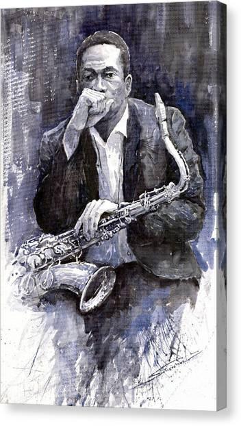 Jazz Canvas Print - Jazz Saxophonist John Coltrane Black by Yuriy Shevchuk
