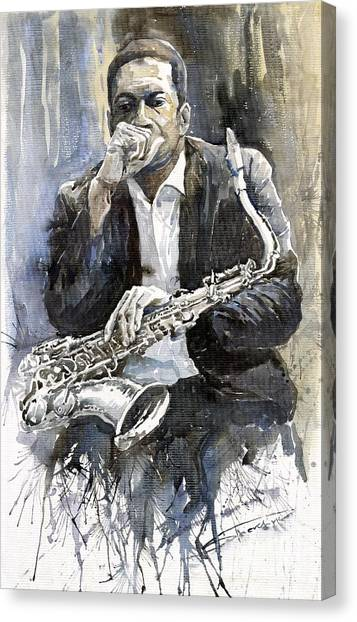 Jazz Canvas Print - Jazz Saxophonist John Coltrane Yellow by Yuriy Shevchuk