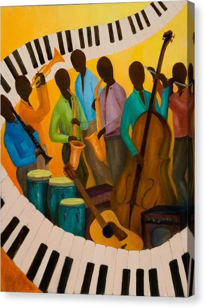 Jazz Septet Canvas Print by Larry Martin
