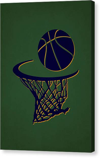 Utah Jazz Canvas Print - Jazz Team Hoop2 by Joe Hamilton