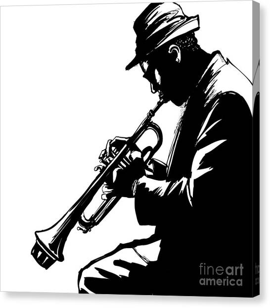 Background Canvas Print - Jazz Trumpet Player-vector Illustration by Isaxar