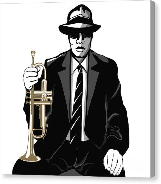 Brass Canvas Print - Jazz Trumpet Player - Vector by Isaxar