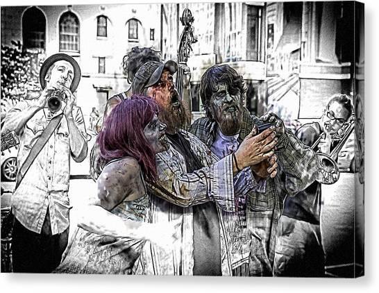 Jazzy Zombie Selfie Canvas Print by John Haldane